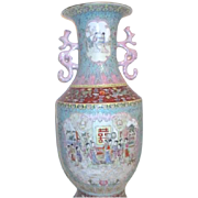 "22"" Tall Hand Painted Chinese Vase"
