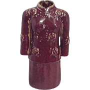 Red Chinese Ceramic Sculpture of Woman's Suit