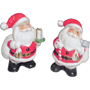 Pair of Ceramic Christmas Santa Banks