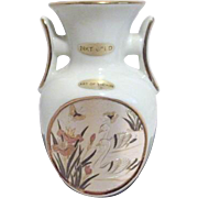 White Japanese Chokin Vase with Swan Scene