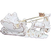Mikasa Porcelain White Christmas Santa in Sleigh with One Reindeer
