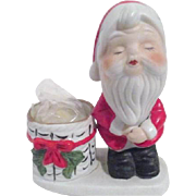 Porcelain Santa with Candle Basket by Christmas Luvkins Jasco 1978