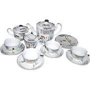 4 Place Dessert Set by Kutani Platinum Trim Tea/Coffee Pot, Cups & Saucers, & Plates, Cream & Sugar