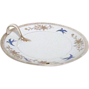 Noritake Nappie Handled Plate with Blue Birds Gold Trim