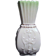 Small Irish Belleek Vase with Embossed Pattern and Gold Trim