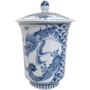 Asian Blue & White Tea/Coffee Cup with Lid Dragons Decorate