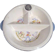 Child's Divided Warming Dish Porcelain and Chrome