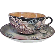 Japanese Dragonware Cup and Saucer with Lustre Interior