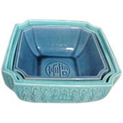 Set of 3 Nesting Blue Asian Bowls