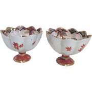 Pair of Small Japanese Scalloped Side Bowls Hand Painted Geishas Design
