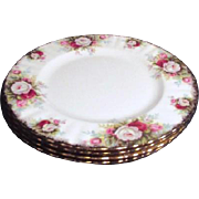 Set of 4 Royal Albert Salad(Dessert) Plates Celebration Pattern