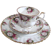 Royal Albert Bone China Celebration Pattern Cup Saucer and Salad Plate(Dessert/Luncheon)