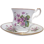 Royal Dover Fine Bone China from England Violets Cup and Saucer