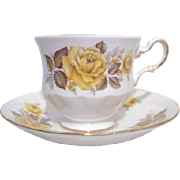 Queen Anne China Pattern #8616 Yellow Rose Cup and Saucer