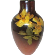 Rookwood Brown Vase with Floral Design Age Crazing