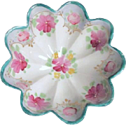 Footed Bowl with Scalloped Sides Hand Painted Flowers