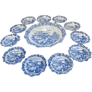 Antique Blue Willow Dessert Set of Serving Bowl and 10 Individual Bowls