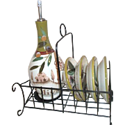 Napa Sonoma Valley Oil Bottle and Plates in Metal Rack
