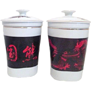 Pair of Asian Dragon Tea Cups with Strainer
