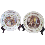 Pair of Charles Dickens Christmas Carol Plates by Aynsley