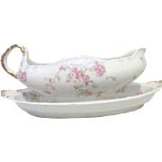 Theodore Haviland Limoges Marie Pattern Gravy Boat and Under Dish