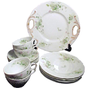 Tressemanes and Vogt (T&V) Limoges, France Dessert Set Daisies and Greenery Pattern-Porcelain