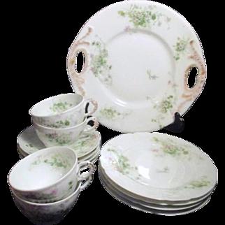 Tressemanes and Vogt (T&V) Limoges, France Dessert Set Daisies and Greenery Pattern-Porcelain