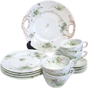 Tressemanes and Vogt (T&V) Limoges, France Dessert Set Daisies and Greenery Pattern