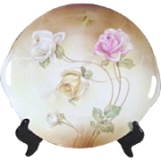 RS Germany Double Open Handled Dessert Plate with Roses