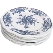 Set of 6 Blue and White Stoneware Dinner Plates Blue Carnation by Sears