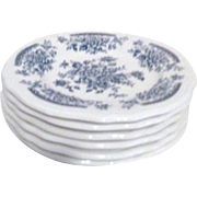 Set of 6 Ironstone Salad Plates by Sears Blue Carnation Pattern