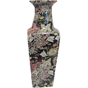 Heavy Square Pottery Vase Black with Multi-colored Transferware Flowers