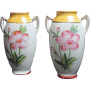 Pair of Small Double Handled Handpainted Vases Made in Japan