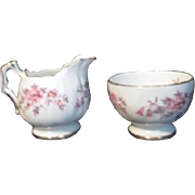 Aynsley Bone China Cream and Sugar Gold Trim Pink Flowers