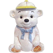 Seated Bear with Baseball Cap Ceramic Cookie Jar Treasure Craft