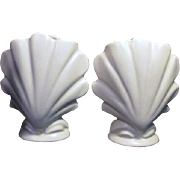 Pair of Ceramic White Seashell Vases