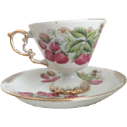 Cup and Saucer by HB Japan with Strawberries and Gold Painted Trim
