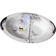 Kutani China Handpainted Platinum Trim Two Owls on Branch Open Vegetable Bowl