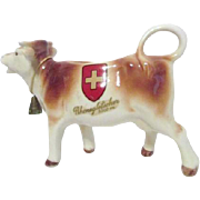 Brown and White Cow Creamer with Metal Bell from Rhonegletscher, Switzerland