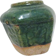 Antique Chinese Green Pottery Food Storage Jar