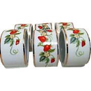4 Avon Ceramic Napkin Rings Strawberry Motif