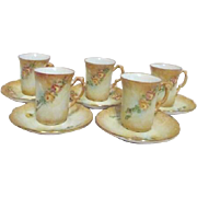 Set of 5 Demitasse Porcelain Cups and Saucers Caramel Shade