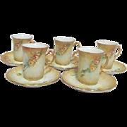 Set of 5 Demitasse Porcelain Cups and Saucers Caramel Shade