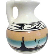 Signed Native American Pottery Water Pitcher with Southwestern Landscape