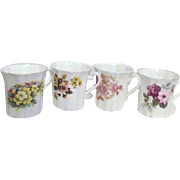 Set of 4 Royal Grafton Porcelain Mugs with Flowers