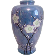 Japanese Blue Lusterware Vase with Cherry Blossoms