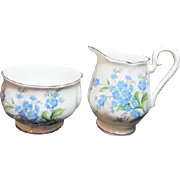 Royal Albert Bone China Cream and Sugar Forget Me Not Pattern