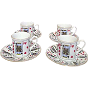 Set of 4 Demitasse Cups and Saucers with Playing Card Suits Design Made for Tiffany