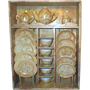 Children's Toy Tea Set Luster Ware 5 Place Settings in Wood Cupboard
