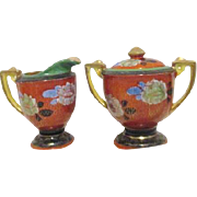 Covered Sugar and Creamer Luster Ware Made in Japan